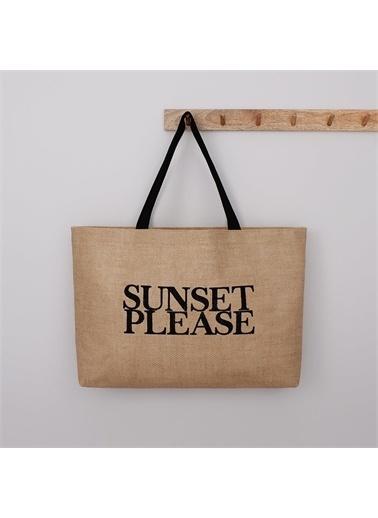 Ocean Home Sunset Please Baskılı Jüt Plaj Çantası Renkli
